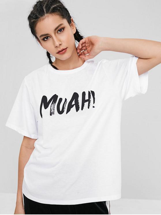 T-Shirt Stampata Lettere Con Maniche Corte - Bianco L