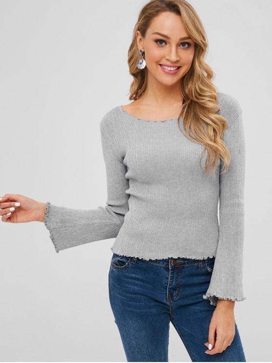 Slim Fit Sweater mit U-Ausschnitt-Kopfsalatbesatz - Graue Wolke Eine Größe