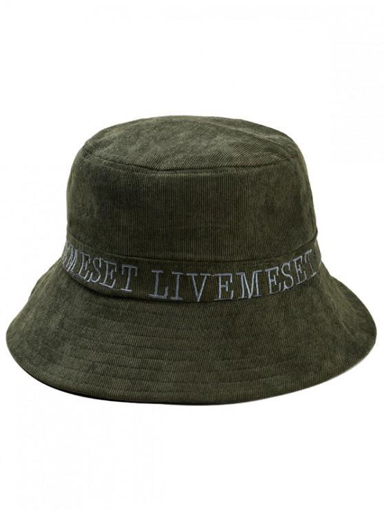 Sombrero bordado mayúscula de sol de cubo - Ejercito Verde