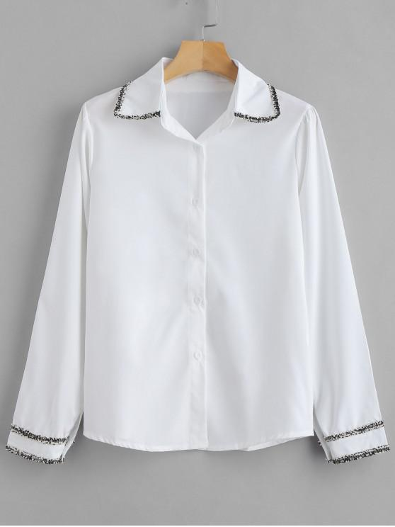 new Embellished Button Up Plain Shirt - MILK WHITE M