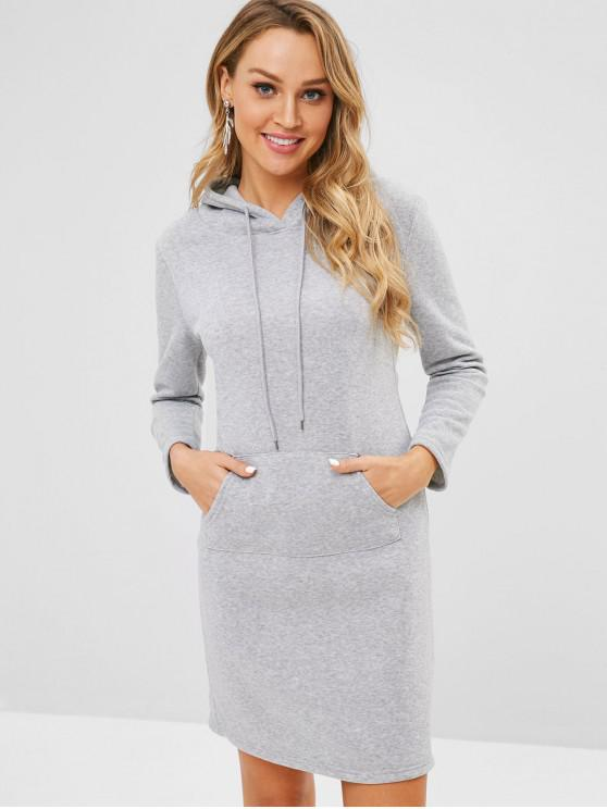 sale Fitted Front Pocket Hoodie Dress - GRAY XL