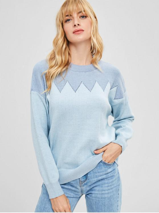 29 Off 2019 Zigzag Graphic Eyelet Sweater In Denim Blue Zaful