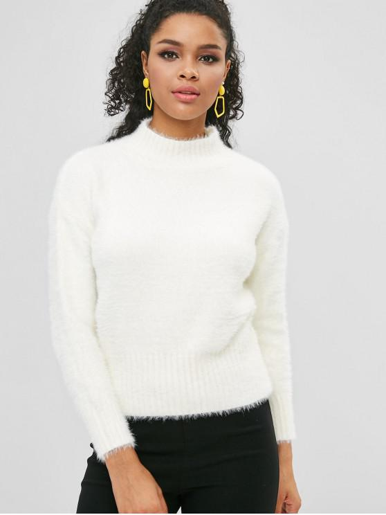 lady Mock Neck Fuzzy Sweater - WHITE ONE SIZE