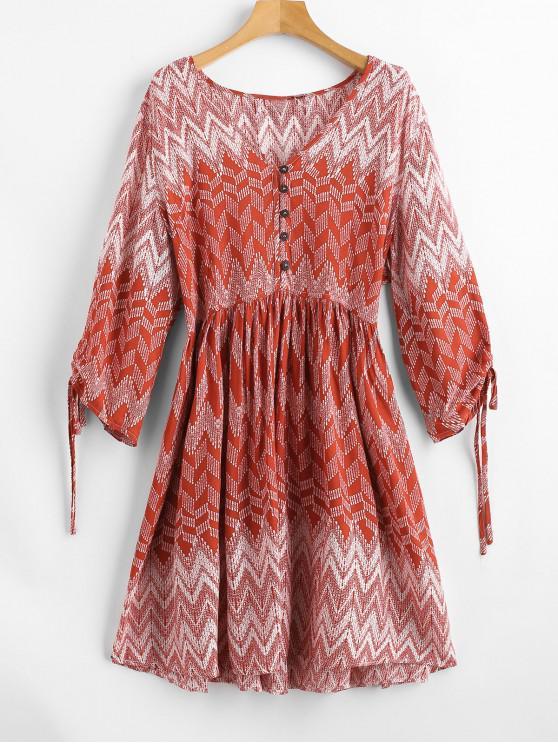 womens Plunge Zigzag Print Peasant Dress - RED L