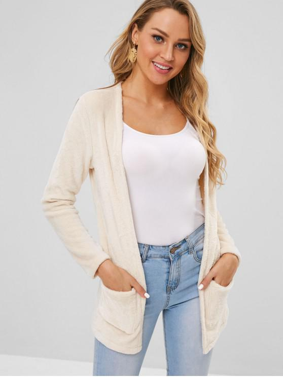 outfit Front Pockets Fluffy Coat - BLANCHED ALMOND L
