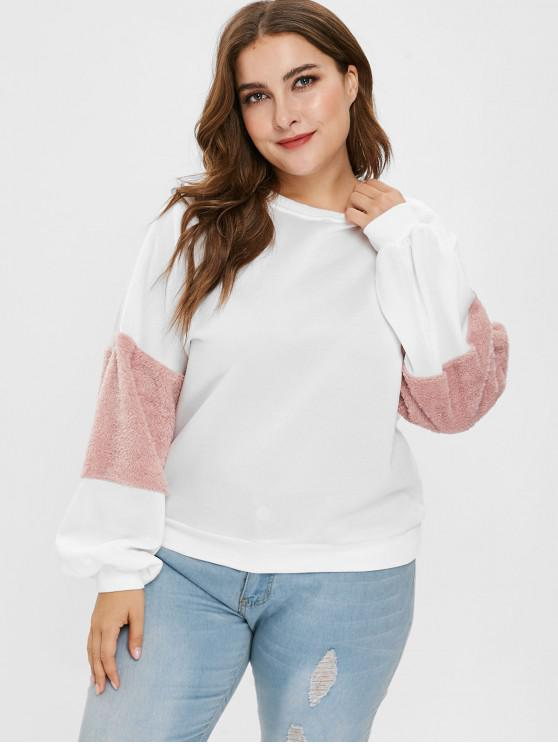 Plus Size Fuzzy Sleeve - Hit Color - Fleece-Sweatshirt - Weiß 3X