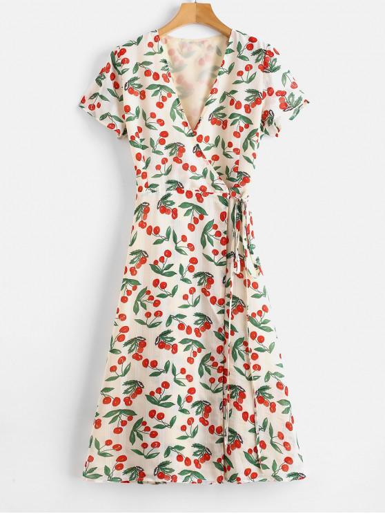 e10b2db11b 31% OFF  2019 A Line Cherry Print Wrap Dress In MULTI