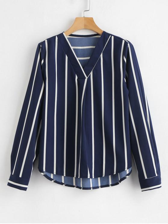 shops V Neck High Low Striped Blouse - NAVY BLUE M
