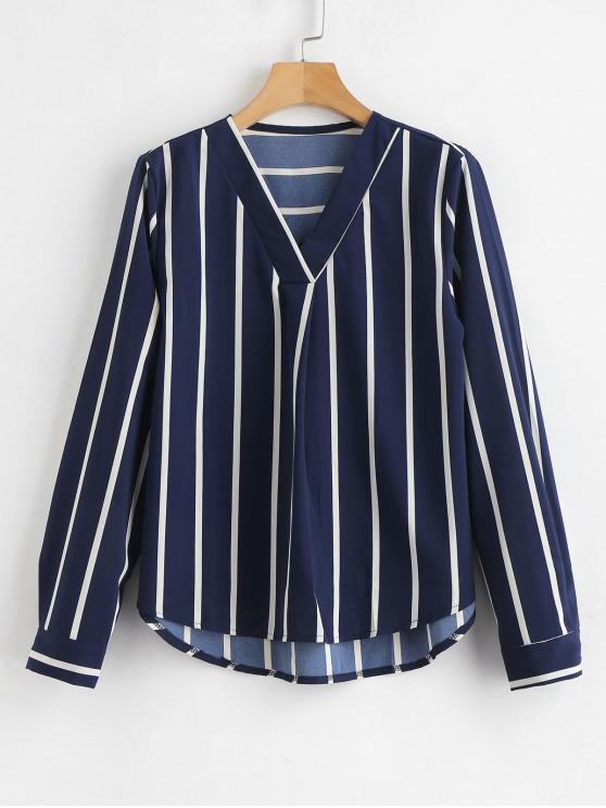 online V Neck High Low Striped Blouse - NAVY BLUE S