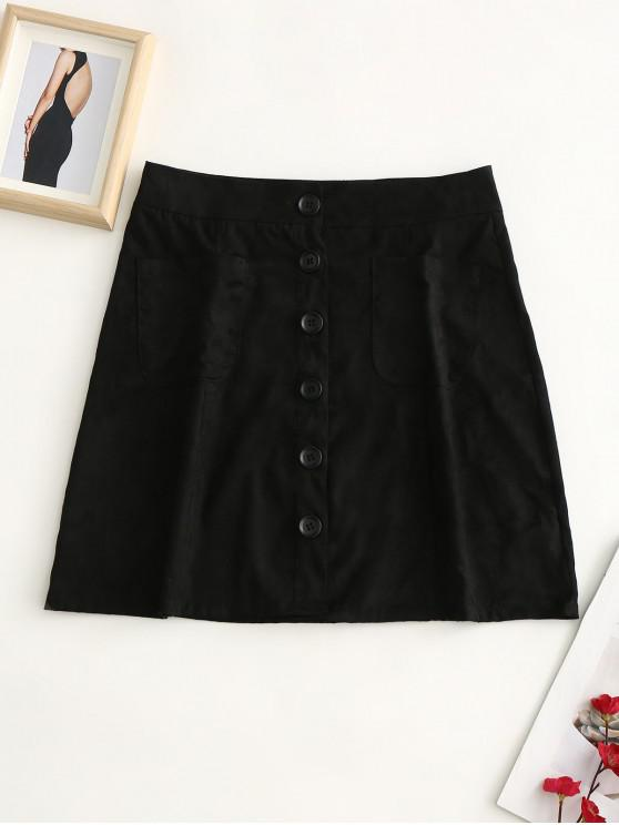best Button Up Pockets Faux Suede Skirt - BLACK S