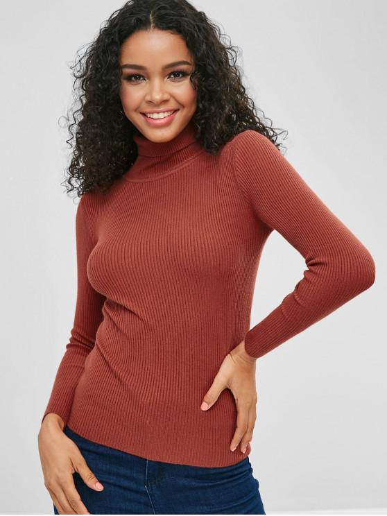 outfits Turtleneck Ribbed Jumper Sweater - BROWN ONE SIZE