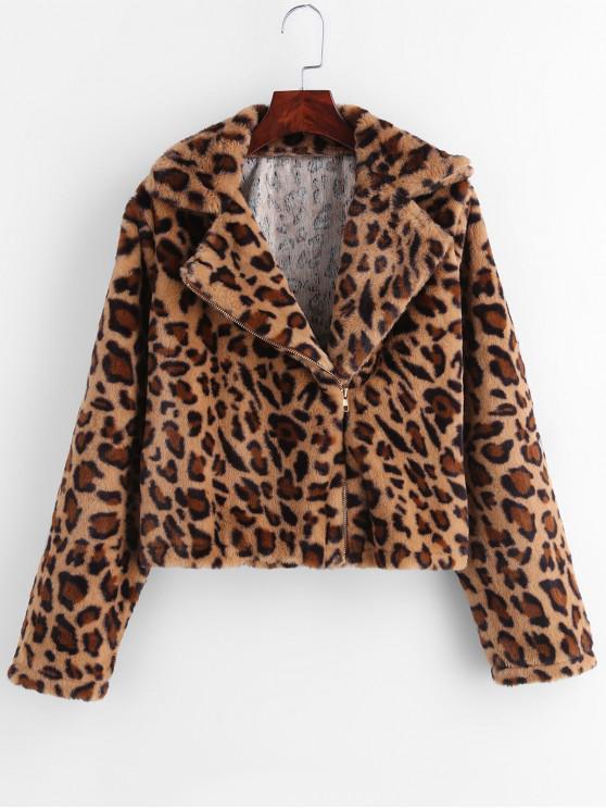 chic Asymmetric Zipper Leopard Fluffy Coat - LEOPARD M