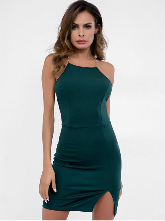 women Backless Slit Cami Dress - DARK GREEN L