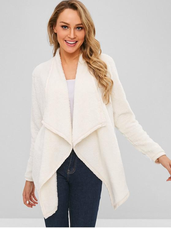 latest Open Front Shearling Fluffy Coat - COOL WHITE XL