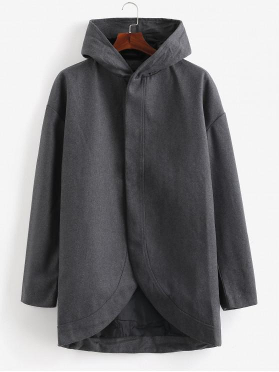 best Slim Fit Hooded Woolen Trench Coat - CARBON GRAY M