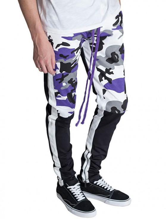 buy Hem Zipper Camo Patchwork Track Pants - PURPLE XS