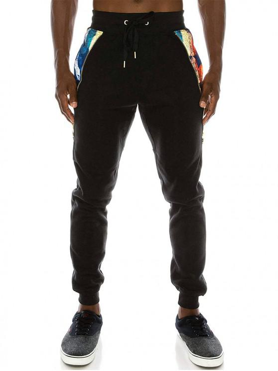 unique Zipper Side Pocket Fleece Jogger Pants - BLACK M
