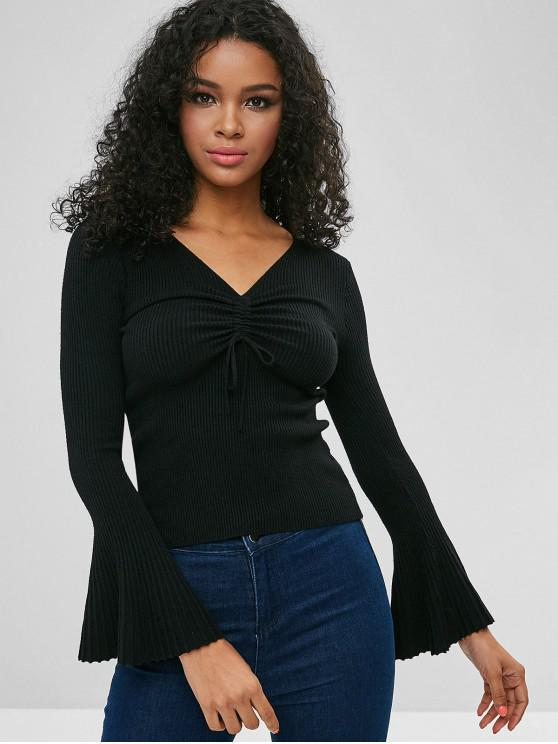 shop Cinched Flare Sleeve Fitted Sweater - BLACK ONE SIZE