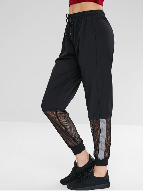 Pantalones de jogger con diseño de malla reflectante - Negro XL