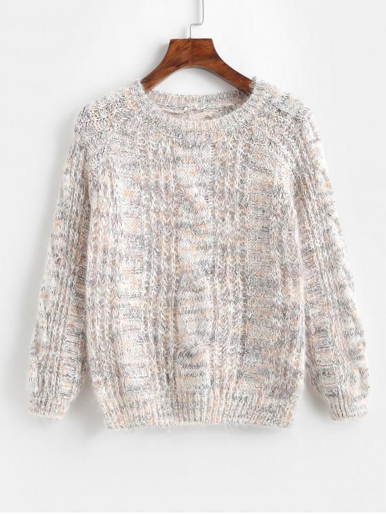 POPULAR] 2018 Raglan Sleeve Heathered Cable Knit Sweater In WHITE ...