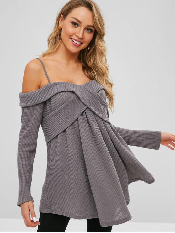 chic Cold Shoulder Overlap Cami Knitwear - SMOKEY GRAY 2XL