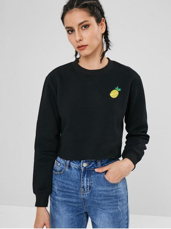 new Tropical Pineapple Embroidered Sweatshirt - BLACK S