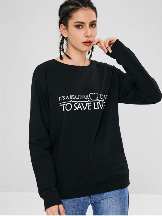 fancy Heart Letter Graphic Valentine Sweatshirt - BLACK M