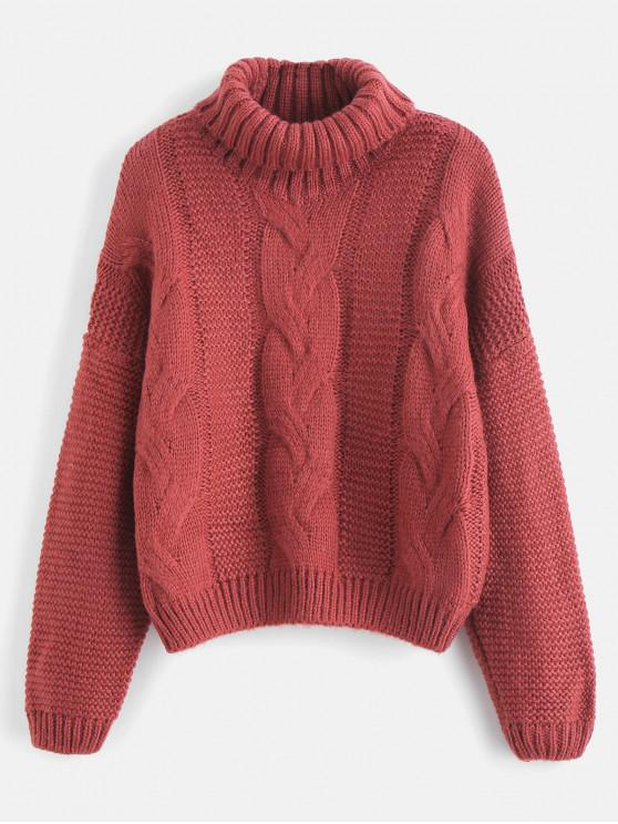 chic Plain Turtleneck Chunky Knit Sweater - CHERRY RED ONE SIZE