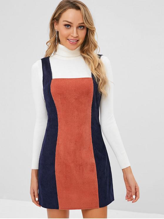 ZAFUL Robe zippée en velours côtelé bicolore - Cadetblue S