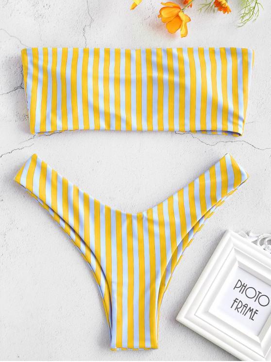 Bikini Bandeau de Corte Alto a Rayas - Multicolor-C L
