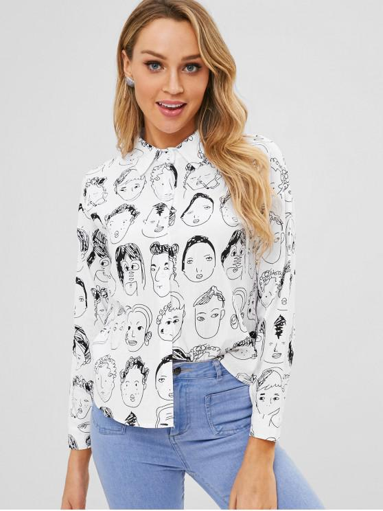 ladies All Over Print Shirt - WHITE M
