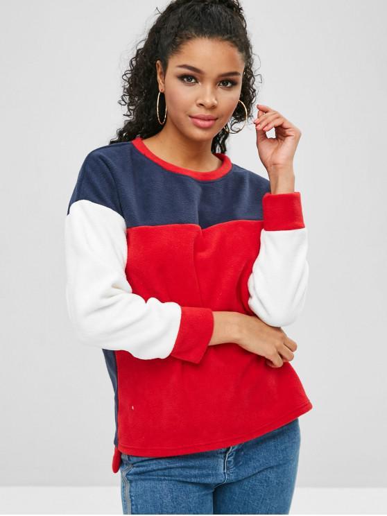 women's ZAFUL Color Block Fleece Sweatshirt - MULTI ONE SIZE