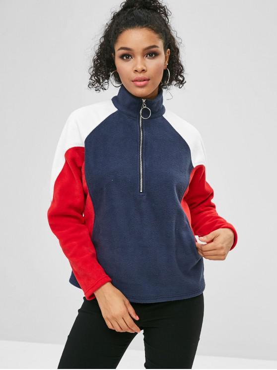 lady ZAFUL Half Zip Color Block Pockets Sweatshirt - MULTI ONE SIZE