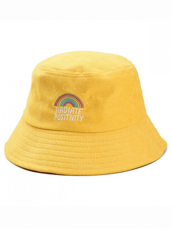 HOT  2019 Rainbow Embroidery Corduroy Fisherman Hat In YELLOW  86543f886da