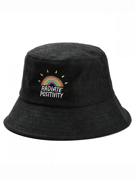 Regenbogen- Stickerei -Kabel- Fischer -Hut - Schwarz