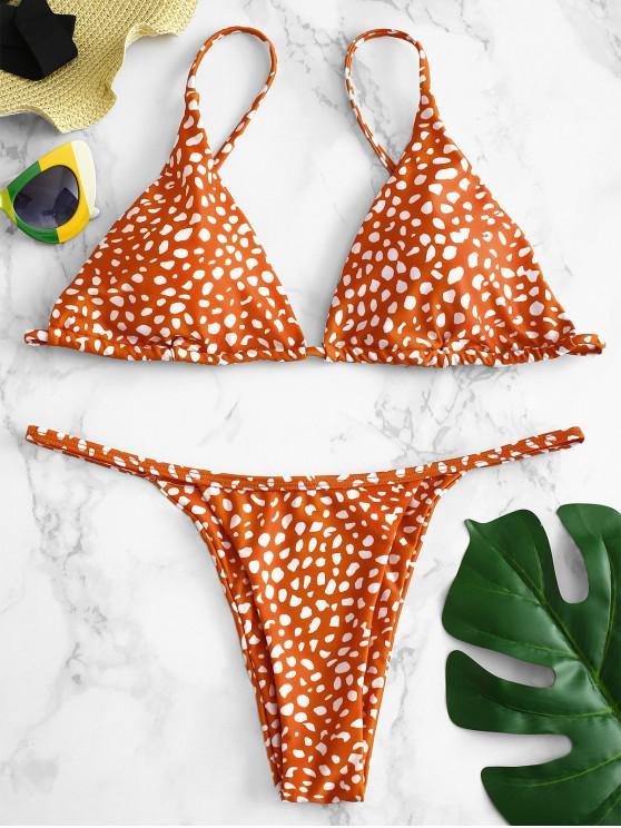 ZAFUL Impresso Tie Bikini Set - Castanha Vermelha L