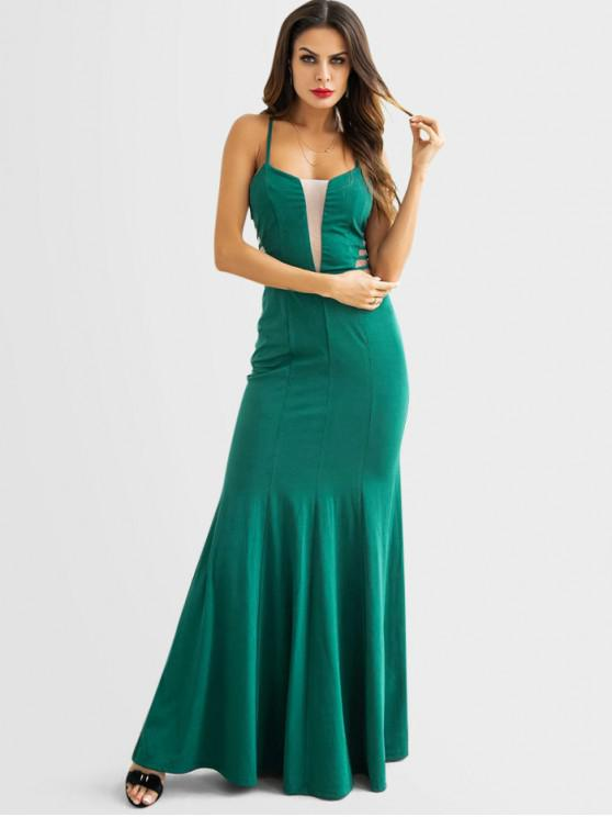 online Strappy Tulle Panel Mermaid Dress - GREEN S