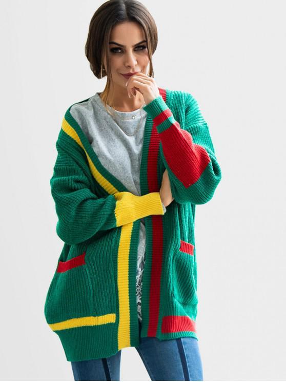Color Block Cardigan aberto - Verde L
