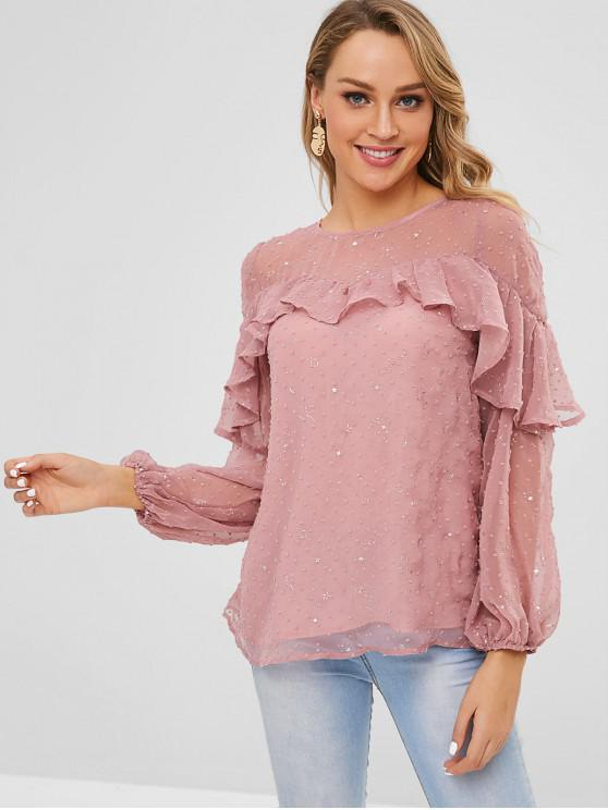 shops ZAFUL Ruffles Embellished Stars Blouse - PINK XL