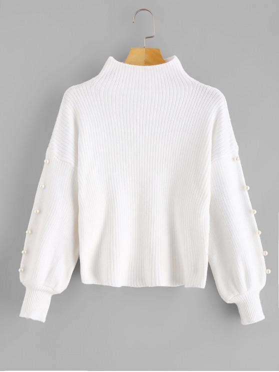 Maglione Con Finte Perle E Collo Alto - Bianca Taglia unica