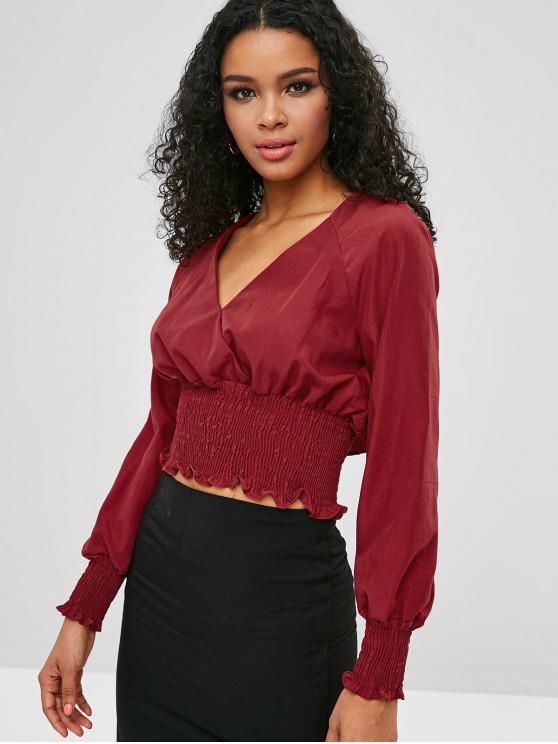 d639d87bd3ffd0 47% OFF  2019 Plunging Smocked Crop Blouse In RED WINE