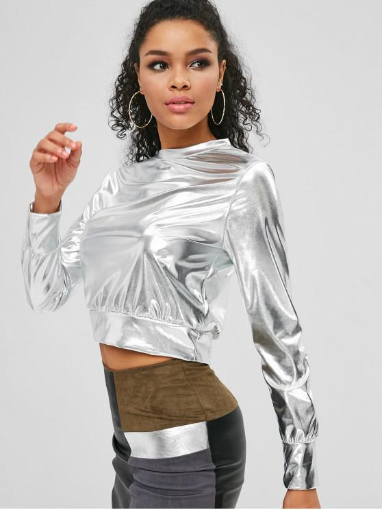 fashion Metallic Crop T-shirt - SILVER M