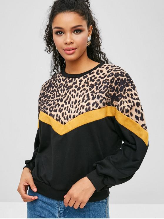 sale Drop Shoulder Leopard Sweatshirt - MULTI XL