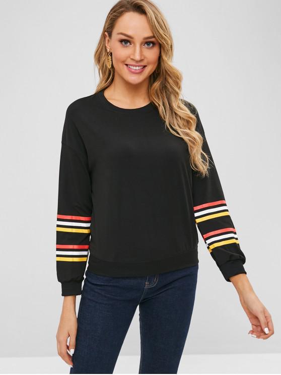 womens Stripe Pattern Sleeve Sweatshirt - BLACK M