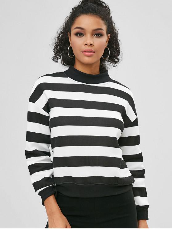 sale Striped Two Tone Fleece Sweatshirt - MULTI-A L