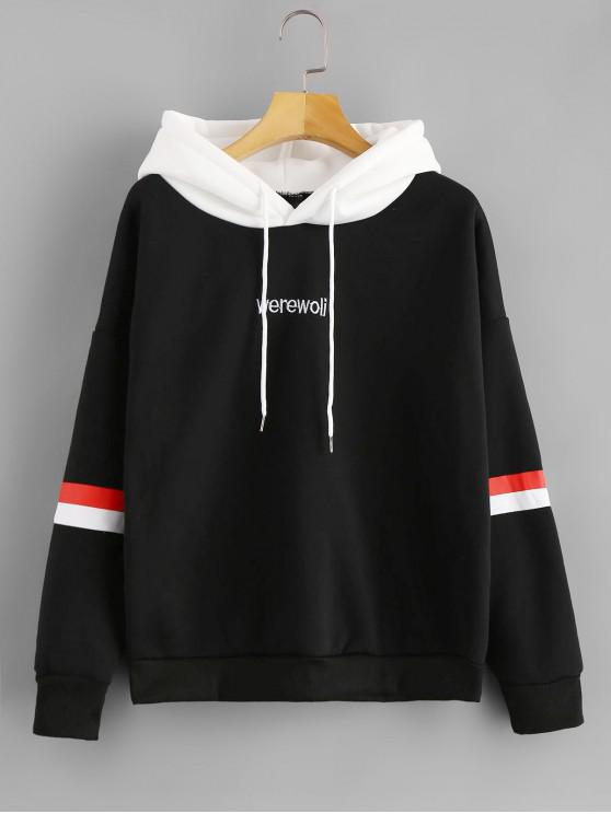 fancy Letter Embroidered Contrast Hoodie - BLACK XL