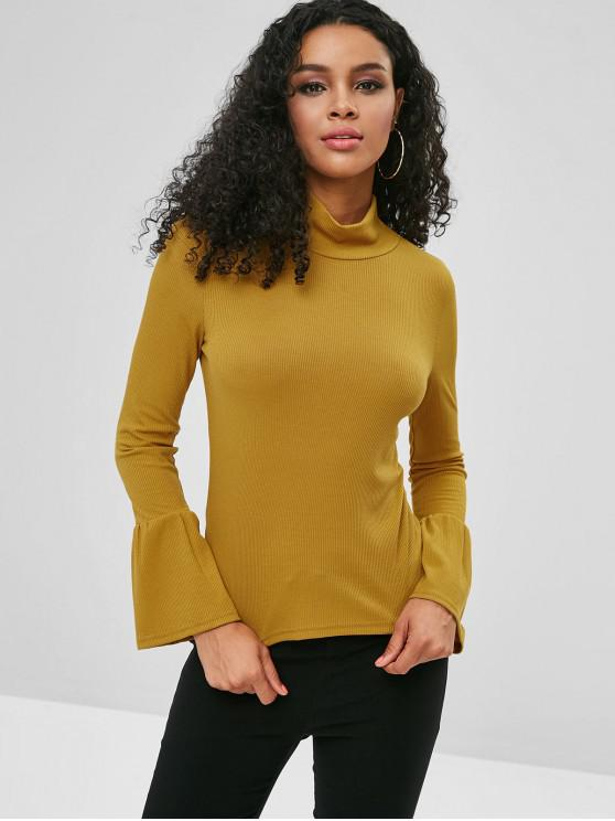 unique Flare Sleeve High Neck Tee - BEE YELLOW M