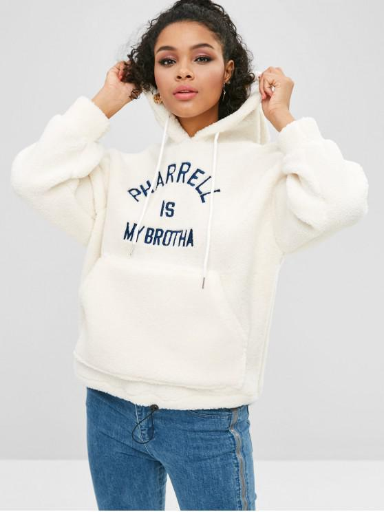womens Letter Embroidered Fluffy Pocket Hoodie - MILK WHITE ONE SIZE