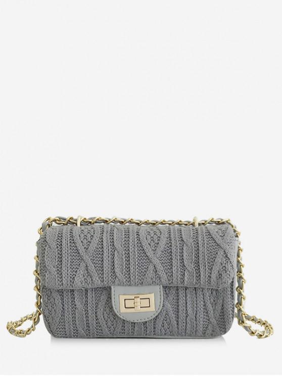 affordable Knitting Hasp Design Link Chain Crossbody Bag - LIGHT SLATE GRAY