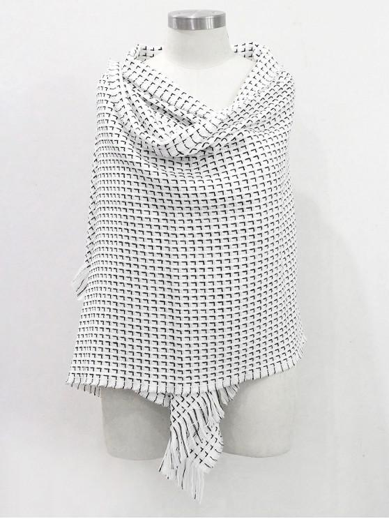 sale Solid Color Fringed Soft Scarf - WHITE